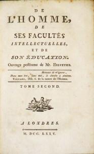 De L'Esprit  - Tomo I / De L´Homme, de Ses Facultés Intellectuelles, Et de Son Éducatione  - Tomo -II