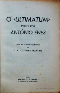 O «Ultimatum» Visto por António Enes