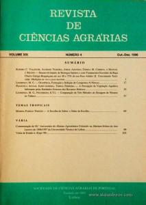 Revista de Ciências Agrárias - Volume XIX - Nº 4 – Out. – Dez.- 1996 - Publicação da Sociedade de Ciências Agrárias de Portugal - Lisboa - 1996. Desc. 112 pág. / 24 cm x 17 cm / Br. - «€10.00»