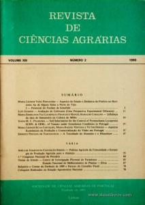 Revista de Ciências Agrárias - Volume XIII -Nº 2 - 1990 - Publicação da Sociedade de Ciências Agrárias de Portugal - Lisboa - 1989. Desc. 79 pág. / 24 cm x 17 cm / Br. - «€10.00»