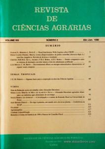 Revista de Ciências Agrárias - Volume XIX - Nº 2 – Abr. – Jun.- 1996 - Publicação da Sociedade de Ciências Agrárias de Portugal - Lisboa - 1996. Desc. 129 pág. / 24 cm x 17 cm / Br. - «€10.00»