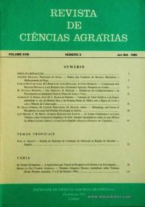 Revista de Ciências Agrárias - Volume XVIII - Nº 3 – Jul. – Set.- 1995 - Publicação da Sociedade de Ciências Agrárias de Portugal - Lisboa - 1995. Desc. 119 pág. / 24 cm x 17 cm / Br. - «€10.00»