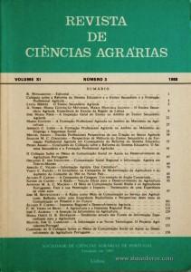 2. Revista de Ciências Agrárias - Volume XI - Nº 3 - 1988 - R. Monjardino - Editorial - Publicação da Sociedade de Ciências Agrárias de Portugal - Lisboa - 1988. Desc. 156 pág. / 24 cm x 17 cm / Br. - «€15.00»