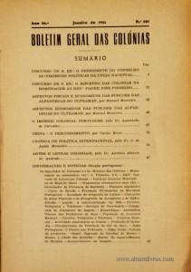 Boletim Geral das Colónias – Ano 26.ª – Janeiro de 1951 – N.º 307 – Agencia Geral das Colónias – Lisboa – 1950. Desc. 250 pág. / 22,5 cm x 16 cm / Br «€15,00»
