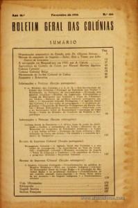 Boletim Geral das Colónias – Ano 10.ª – Fevereiro de 1934 – N.º 104 – Agencia Geral das Colónias – Lisboa – 1934. Desc. 212 pág. / 22,5 cm x 16 cm / Br «€12,50»
