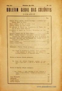 Boletim Geral das Colónias – Ano 10.ª – Outubro de 1934 – N.º 112 – Agencia Geral das Colónias – Lisboa – 1934. Desc. 277 pág. / 22,5 cm x 16 cm / Br «€12,50»