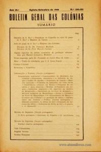 Boletim Geral das Colónias – Ano 20.ª – Agosto/Setembro de 1944 – N.º 230/231 – Agencia Geral das Colónias – Lisboa – 1944. Desc. 149 pág. / 22,5 cm x 16 cm / Br «€12,50»