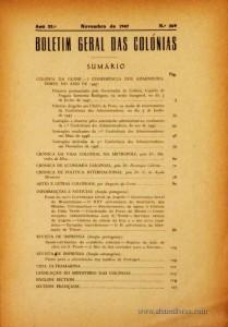 Boletim Geral das Colónias – Ano 23.ª – Novembro de 1947 – N.º269 – Agencia Geral das Colónias – Lisboa – 1947. Desc. 140 pág. / 22,5 cm x 16 cm / Br «€12,50»