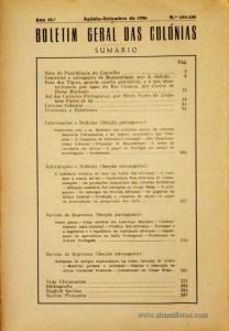 Boletim Geral das Colónias – Ano 12.ª – Agosto/Setembro de 1936 – N.º134-135 – Agencia Geral das Colónias – Lisboa – 1936. Desc. 189 pág. / 22,5 cm x 16 cm / Br «€12,50»