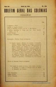 Boletim Geral das Colónias – Ano 20.ª – Abril de 1944 – N.º226 – Agencia Geral das Colónias – Lisboa – 1944. Desc. 134 pág. / 22,5 cm x 16 cm / Br «€12,50»