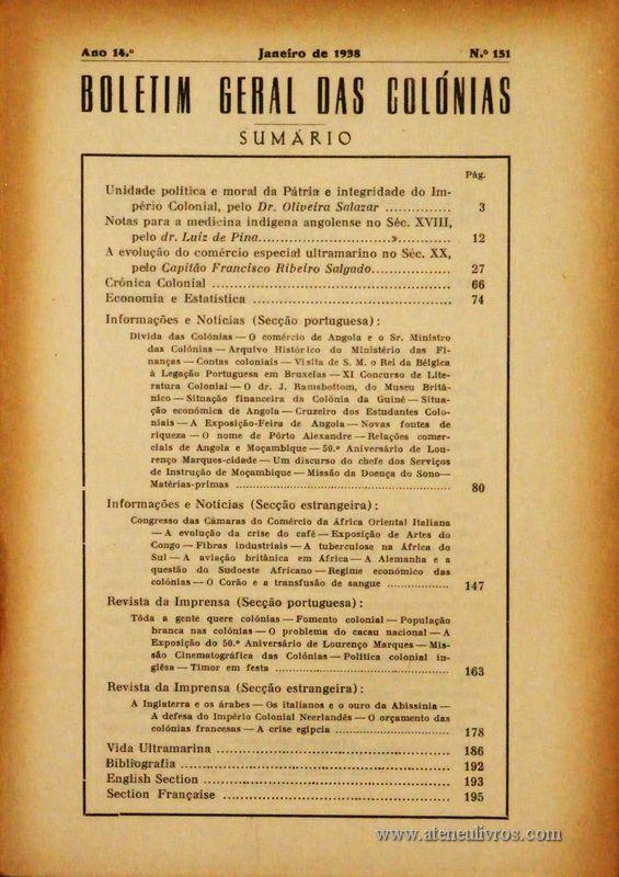 Boletim Geral das Colónias – Ano 14.ª – Janeiro de 1938 – N.º151 – Agencia Geral das Colónias – Lisboa – 1938. Desc. 196 pág. / 22,5 cm x 16 cm / Br «€12,50»