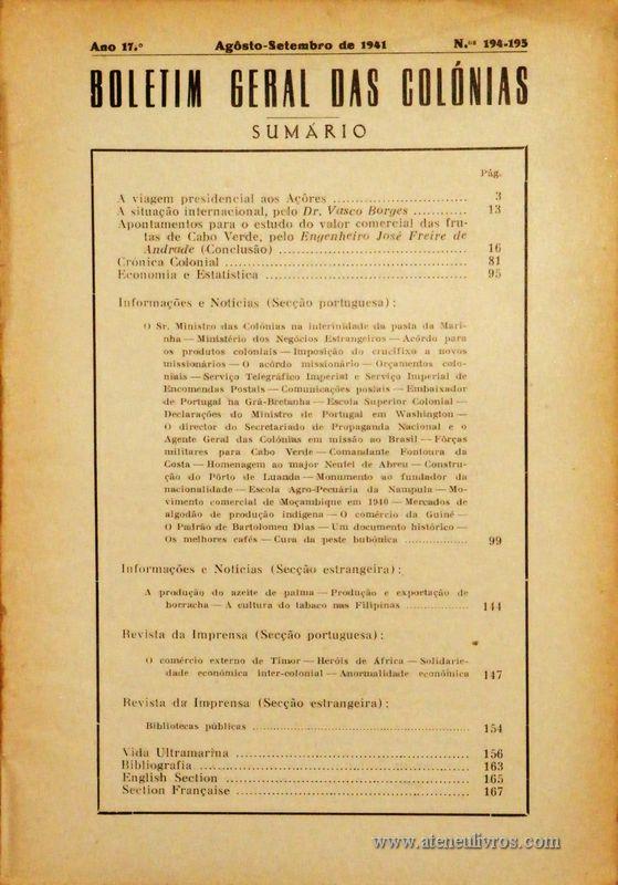 Boletim Geral das Colónias – Ano 17.ª – Agosto/Setembro de 1941 – N.º194-195 – Agencia Geral das Colónias – Lisboa – 1941. Desc. 168 pág. / 22,5 cm x 16 cm / Br «€12,50»