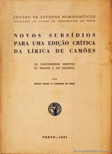 Novos Subsídios Para Uma Edição Crítica da Lírica de Camões