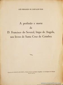 A Profissão e Morte de D. Francisco do Soveral, Bispo de Angola, nos Livros de Santa Cruz de Coimbra