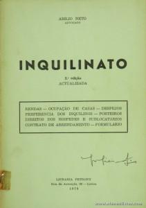 Abílio Neto - Inquilinato - Livraria Petrony - Lisboa - 1978. Desc. 221 pág / 20 cm x 15 cm / Br. «€5.00»