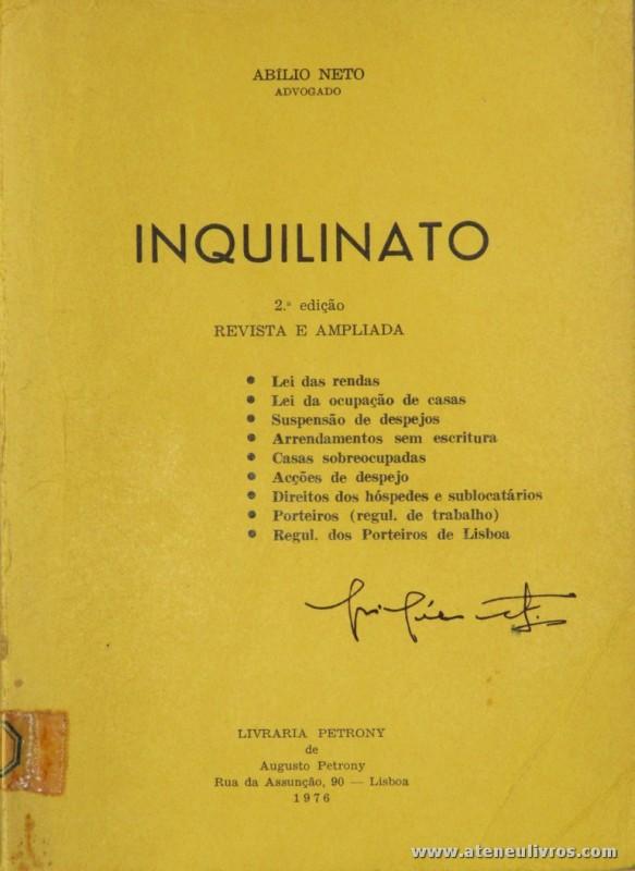 Abílio Neto - Inquilinato - Livraria Petrony - Lisboa - 1976. Desc. 106 pág / 20 cm x 15 cm / Br. «€5.00»