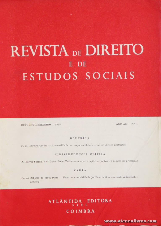 Revista de Direito e de Estudos Sociais - Outubro/Dezembro de 1965 - Ano XII - N.º 4 - Livraria Almedina - Coimbra «€10.00»
