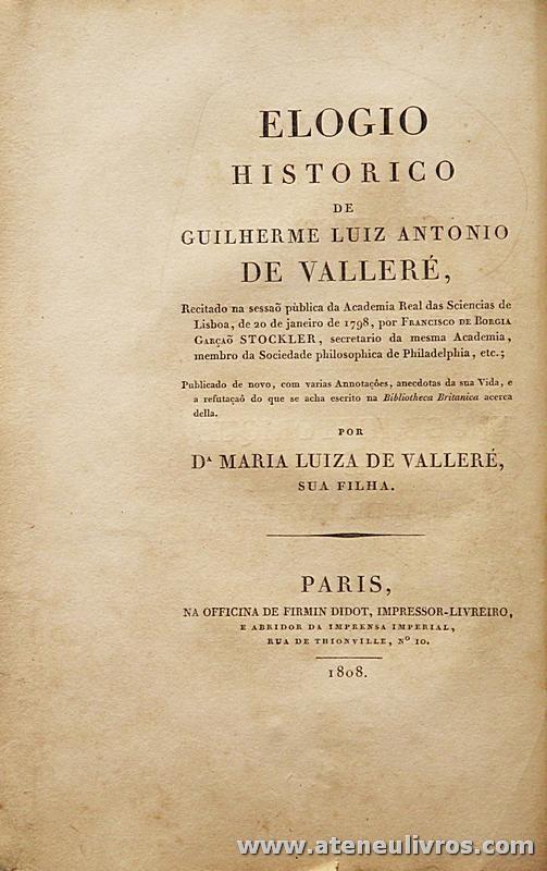 Elogio Historico de Guilherme Luiz Antonio de Valleré