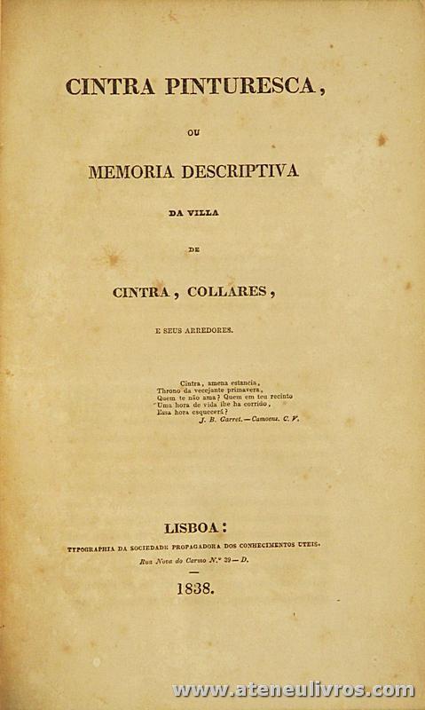 Cintra Pinturesca ou memoria Descritiva da Vila de Cintra, Collares